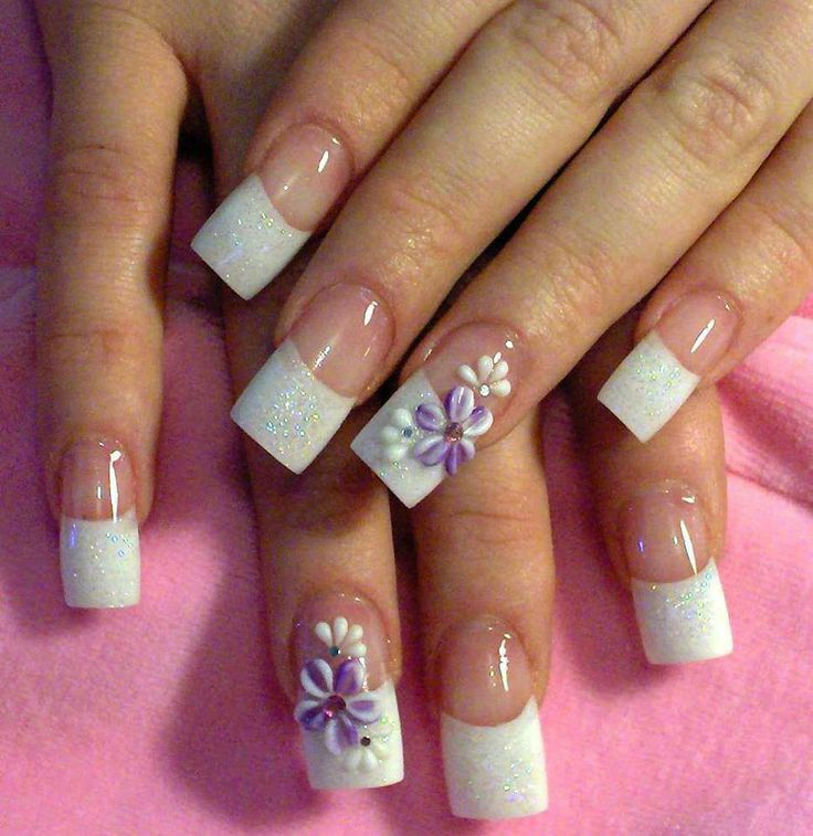 Short square acrylic nails french manicure