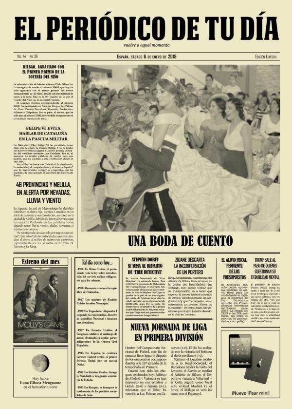 periódico personalizado como regalo original para una boda